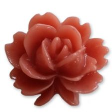 15mm TERRACOTTA Shabby Rose Resin Flatback Cabochons